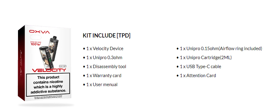 OXVA Velocity Pod Kit - Inside the box